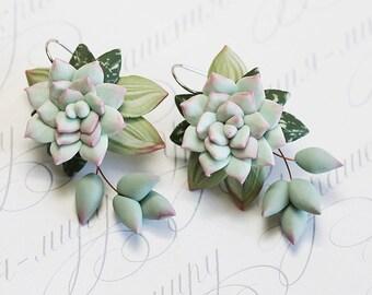 Mint Succulent Earrings. Polymer clay earrings. Dangle earrings. Polymer clay jewelry. Miniature Plant Earrings. Wedding Succulent Jewelry