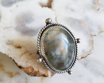 no. 644 - sterling silver and moss agate ring