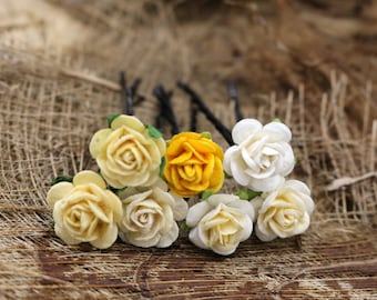 Yellow  White  Roses, Mulberry Paper Flower, Hair Pins , Bridal Hair Pins, Hair Bobby Pins,Prom,Bridal Hair Accessories (FL418)
