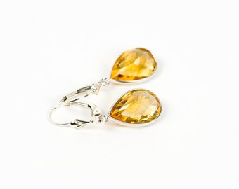 Citrine Earrings, Sterling Silver November Birthstone Earrings, Yellow Gemstone Dangle Earrings