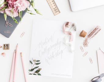 Calligraphy Packet, Guide, Modern Calligraphy, hand lettering, learn calligraphy, whimsical, workshop, diy project, lettering how to
