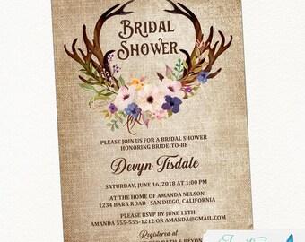 Anemone Antler Bridal Shower Invitation, Rustic Bridal Shower, Country Bridal Shower, Boho Bridal Shower, floral bridal shower invite purple