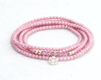 Bracelet-multi-row-pink-polished, bohemian glass beads-Silver pendant-Flower of life-yoga style-Yoga jewelry