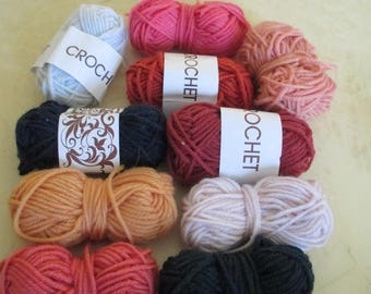 set of 10 small balls of wool in different colors