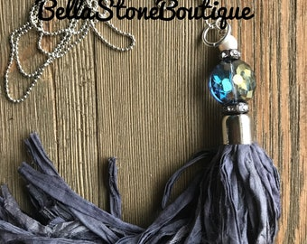 Crystal pearl rhinestone denim blue sari silk/long sari silk necklace/sari Silk necklace/silver necklace/sari silk tassel/gift for mom/rts