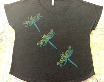 Pinao (Dragonfly) Block Print on Women's Shirt