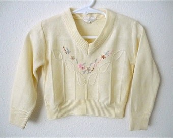 Vintage Baby Girl's 80's Sweater, Cream, Floral, V Neck, Long Sleeve (9-12 mos.)