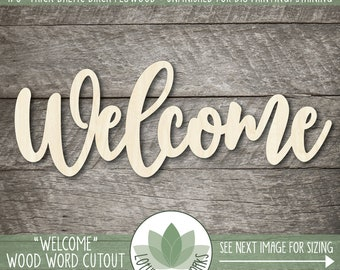 Wood Welcome Word Cutout, Welcome Wedding Sign, Wooden Wall Gallery Words, Welcome Sign, Wood Wedding Signs, Welcome Wooden Sign