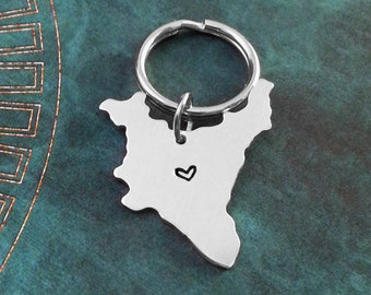 India Keychain India Keyring Country Keychain India Gift Long Distance Relationship Gift Personalized Stamped Heart Keychain State Keychain