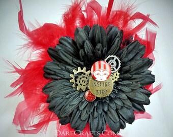Black Hair Flower, Wedding Hair Flower PinUp Flower, Rockabilly Flower, Retro Hair Flower, Hair Flower Clip, Hair Flower Wedding