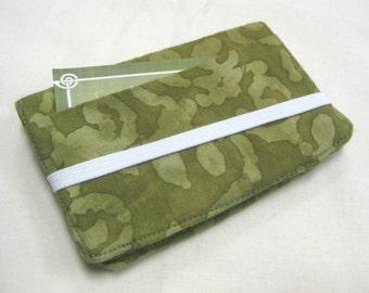 Business Card Holder Mini Wallet- Bifold Inside Outside Wallet in Green Batik Olive Moss Fern Green