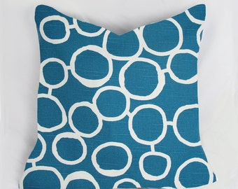 Bubble - Decorative Pillow Cushion Covers - Accent Pillow - Throw Pillow - Turq, white