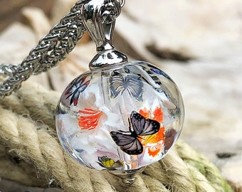 Lampwork Butterfly/flower ball/Lampwork bead by Jacqueline Herzog Pearl Witchcraft
