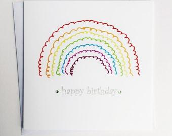 Birthday Rainbow card - rainbow birthday card - birthday card - rainbow card - Happy Birthday Rainbow card