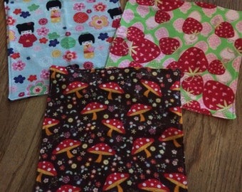 Handmade cute flannel washcloths