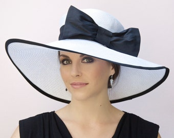 Wedding Hat, Black and White Hat, Wide Brim Hat, Derby Hat, Ascot Hat, Formal Hat, Church Hat, Large Hat, Big hat
