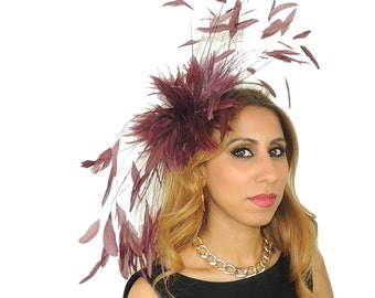 Eagle - Burgundy Fascinator Hat for Kentucky Derby, Weddings and Christmas Parties on a Headband
