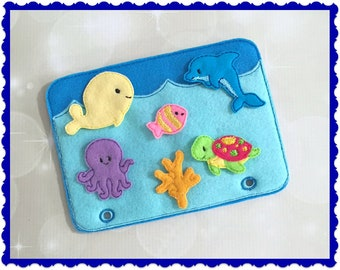 Quiet Book Page - Busy Book - Pre School Learning - Ocean Playset Page- Toddler Learning - Kids Activity Pages - Felt Toys - Learning Toys