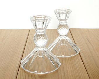 FREE SHIPPING 2 Sparkly Glass Candle Sticks. 'Pineapple Cut' Style Glass Candle Holders, Table Decor.