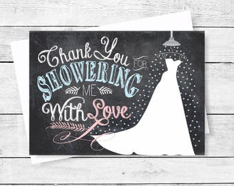 Thank You Note Cards Shower Me With Love Chalkboard Thank You Flat Note Card