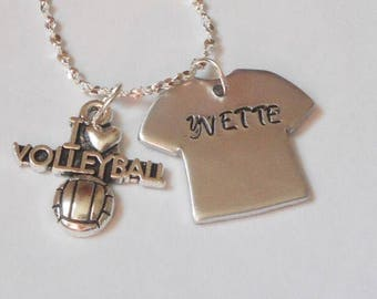 I love volleyball necklace, sterling silver necklace, hand stamped necklace, custom name necklace, gift giving, I love volleyball charm