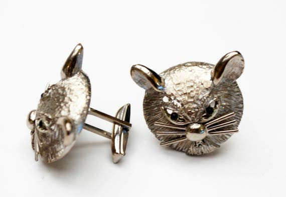 Silver Cat Cuff links - feline cufflink - black rhinestone - pat pend signed - Kitty cat head