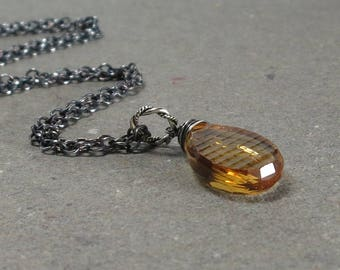 Citrine Necklace Pendant Checkerboard Pattern Oxidized Sterling Silver November Birthstone Large Gemstone