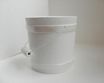 "White bucket - winter wedding favor bucket, white Christmas decor, white baby shower, 3"" bucket, bridal shower, 18"" doll accessory"
