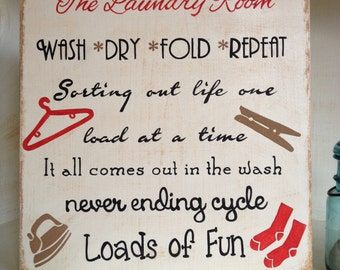 Laundry Room Sign, Laundry Room Wood Sign, Handpainted Laundry Room Sign, Typography Style Laundry Room Wood Sign