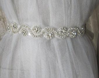 Rhinestones Wedding belt sash, bridal belt