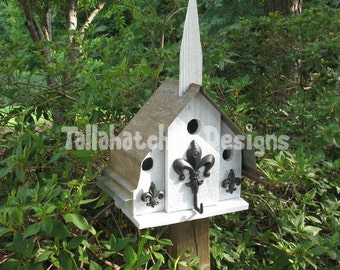 church birdhouse, birdhouse outdoor, wedding birdhouse, country garden birdhouse, fleur de lis birdhouse, outdoor birdhouse