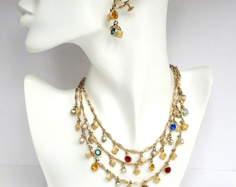 Accessocraft NYC 3 Strand Charm Necklace and Earrings – Vintage Jewelry – Statement Necklace