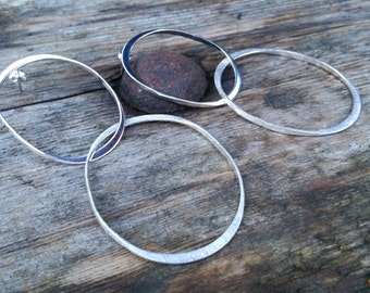 Double Hoop Earrings, Silver Circle Earrings, Circle Earrings, Sterling Silver Earrings