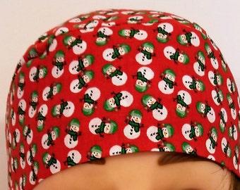 Red w Snowmen Skull Cap or Chemo Cap, Hat, Hair Loss, Bald, Alopecia, Head Wrap, Helmet Liner, Surgical Cap, Motorcycle, Handmade, Christmas