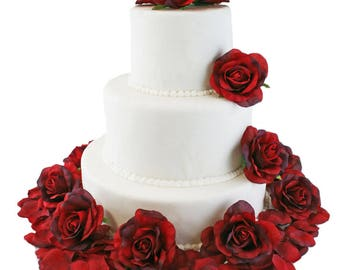 Red Silk Rose Cake Flowers - Wedding Reception Decoration