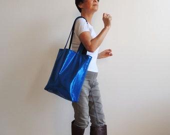Liquid Metallic Blue Tote Bag - Tote Bag - Convenience Bag - Everyday Bag - Book Bag - Laptop Bag - Magazines Bag - New York Tote Bag