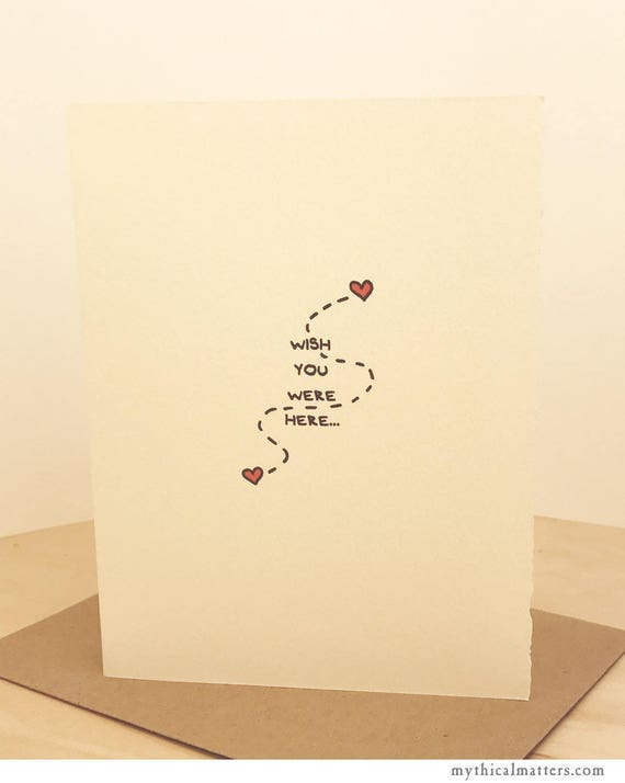Wish You Were Here Miss You Greeting Card Cute Valentine Sentiment  paper made in Canada Toronto Love Long Distance hearts relationship