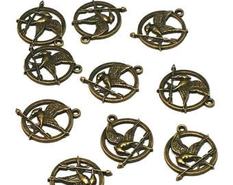 10 pcs 25mm antiqued bronze plated hunger games mockingjay bird and arrow charms