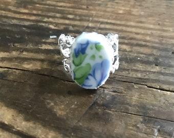 Broken China Adjustable Blue Flower Ring