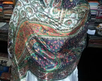 Gorgeous women handmade silk shawl or stole abstract printed silk shawl size 75 X 200 centimeter