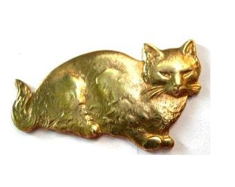 Vintage cat metal stamping