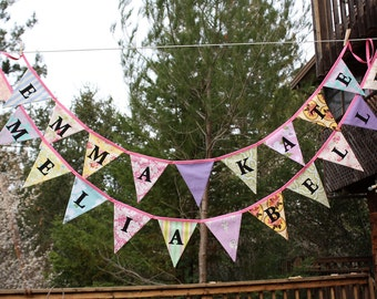 Custom, Twin Fabric Buntings, Personalized Bunting Flag Decoration. 21 Flags,  up to 19 letters, with an option for more flags.