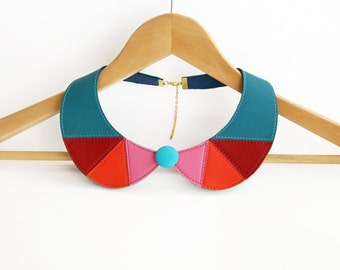 Leather Necklace Bib Necklace Pink Corall Red and Teal Blue Leather Collar Peter Pan Detachable Collar READY TO SHIP