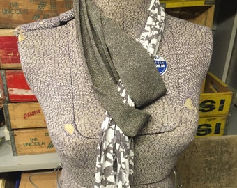 Plain Jersey Scarf - Taupe/Cream/Shimmer