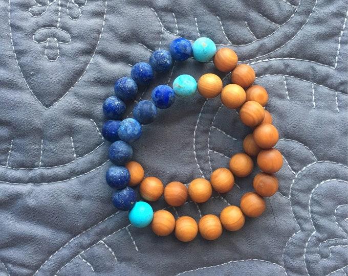 Featured listing image: Peace, Compassion Lapis & Sandalwood Mala Bracelet, Turquoise Mala Bracelet, Yoga Jewelry, Mala Bracelet, Mens Bracelet, Mens Yoga Bracelet