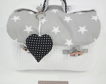 Bathroom Beauty Bag Grey Stars. Pois. Beauty case Designed for babies and moms. Ivory cotton waffle. Teal multicolor bubbles. Easy to clean