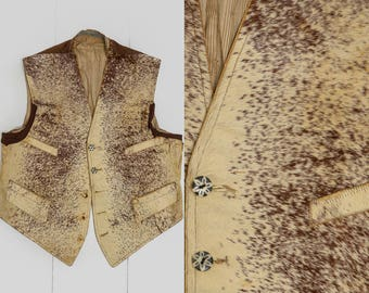 Antique 1800's Calf Skin Western Vest Cinch Back Ranch Hand Early Americana Western Historical Clothing Design Piece