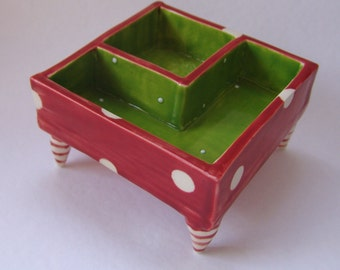 whimsical pottery Serving Dish ceramic watermelon Red & Lime polka dots, striped feet divided snack bowl