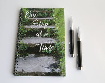 One Step at a Time, Inspirational Notebook, Motivational Journal, Spiral bound notebook, Quote Notebook, Wire Bound Journal, Writing Journal
