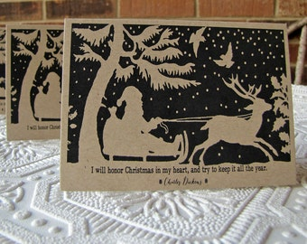 Christmas Note Cards Santa's Sleigh Silhouette set of 5